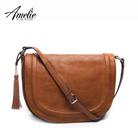 Amelie Galanti Large Saddle Bag Crossbody Bags For Women Brown Flap Purses  With Tassel Over The