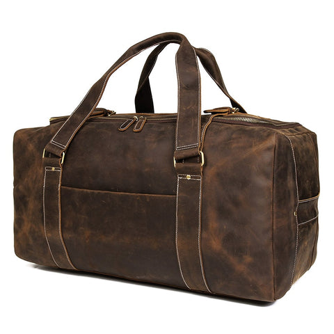 07d8a5782bdf J.M.D Crazy Horse Genuine Leather Travel Bag Men Vintage Travel Duffel bag  big Cow Leather Carry