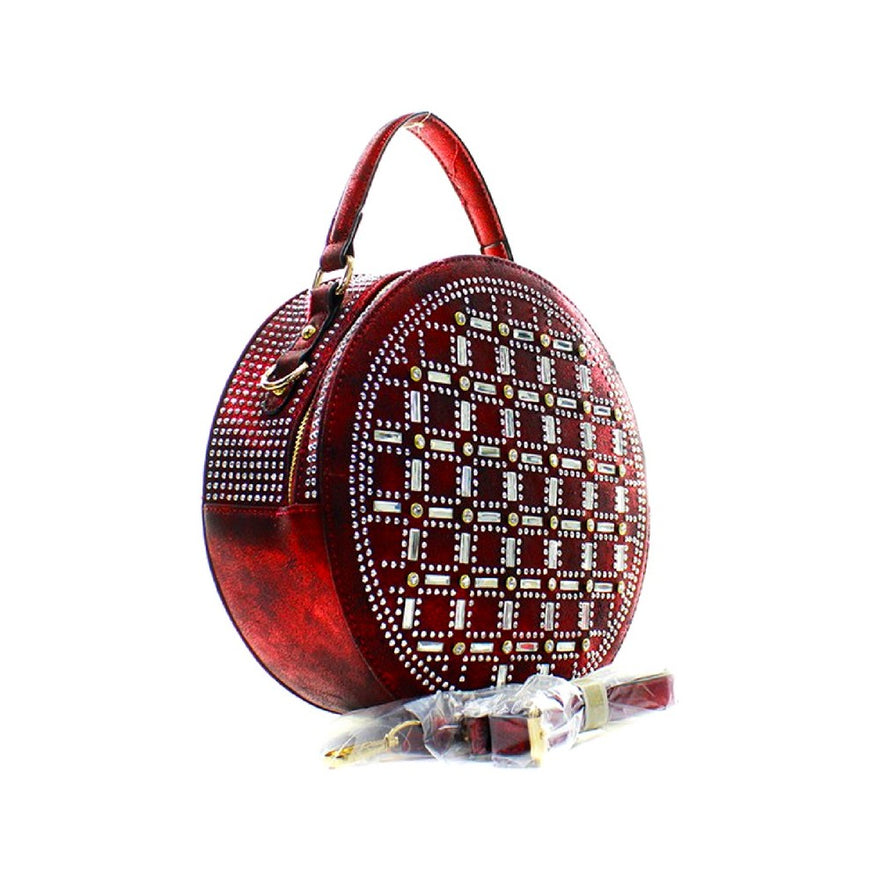 Rhinestone Studded Red Vegan Leather Round Handbag With Matching Zippered Wallet
