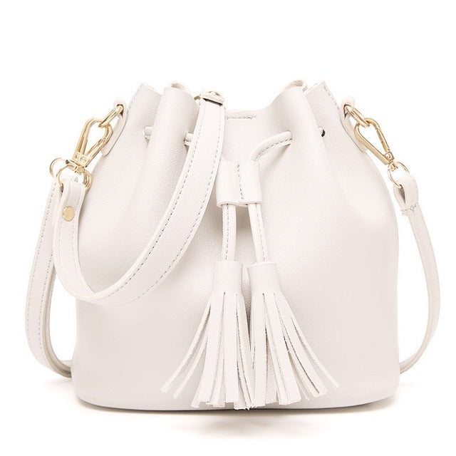 Herald Fashion Women Bags Tassel Drawstring Bucket Bags Small Quality Leather Female Shoulder Bag