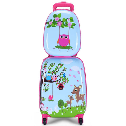 "2 Pcs 12"" 16"" Blue Abs Kids Suitcase Backpack Luggage Set"