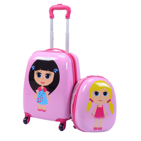 "2 pcs 12"" 16"" Pink Kids Girls  Suitcase Backpack Luggage Set"