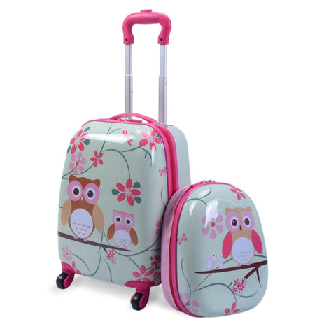 "2 Pcs 12"" 16"" Green Abs Kids Suitcase Backpack Luggage Set"