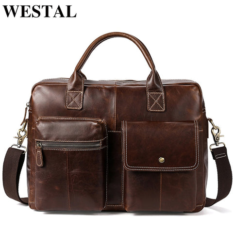 Westal Men'S Briefcases For Lawyer Genuine Leather Messenger Bag Men Leather Laptop 14 Computer