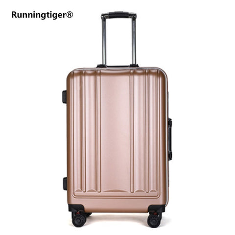 New Usb Charging Port Suitcase Aluminum Frame Brake Shock Absorber Trolley Case Woman 24Inch Travel