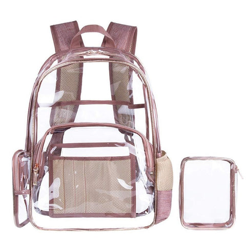 Clear Pvc Backpack With Cosmetic Bag Transparent Multi-Pockets School Backpack Outdoor Bookbag