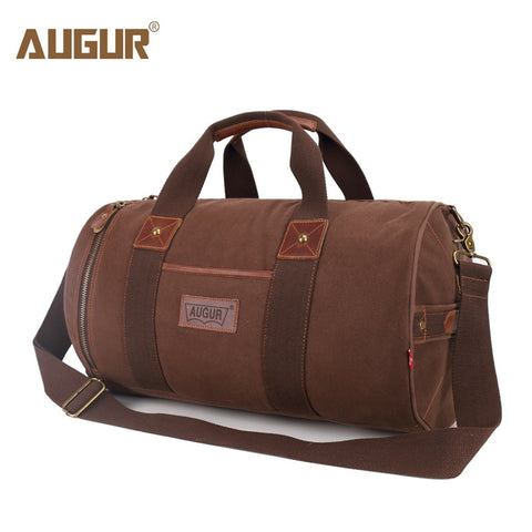 Augur New Canvas Leather Carry On Luggage Bags Men Travel Bags Men Travel Tote Large Capacity