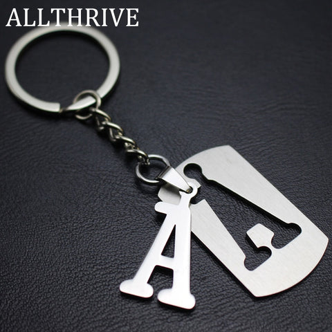 Stainless Steel Alphabet Key Chain Ring 26 English Initial Letters Keychains Car Wallet Handbags
