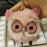 Pinxiu Cute Fashion Women Handicraft Gold Dust Owl Fur Cony Hair Ball Pom Pom Charm Car Keychain