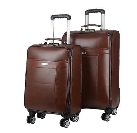 Luggage Trolley Case 24 Inch Men'S Luxury Brand Carry-On Luggage Pu Business Luggage Suitcase Retro