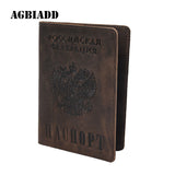 Vintage Natural Crazy Horse Leather Russian Emblem Logo Passport Cover Drop Ship A594 Men Genuine