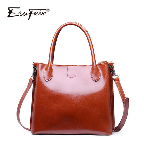 Esufeir 2018 Genuine Leather Women Handbag Buckle Zipper Vintage Shoulder Bag Messenger Bag