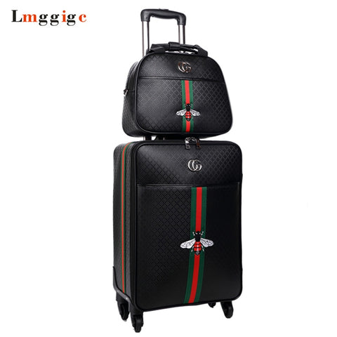 Women'S High-Quality Suitcase Bag Set, Rolling Pu Luggage, New Leather Box With Handbag,