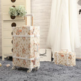 "Wholesale!13"" 20"" 22"" 24"" 26"" Retro Pu Leather Floral Trolley Luggage Bag,Girl Japan Vintage"