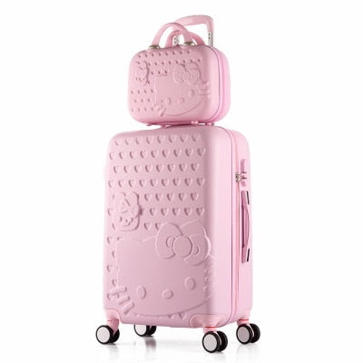 "2Pcs/Set Lovely 14"" Cosmetic Bag Hello Kitty 20/22/24/28 Inch Girl Students Trolley Case Travel"
