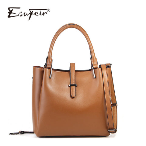 Esufeir New 2018 Genuine Leather Women Bags Solid Color Large Capacity Tote Bag Vintage Crossbody