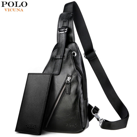 Vicuna Polo Anti-Theft Leather Magnetic Button Open Man Chest Bags With Headphne Hole Brand