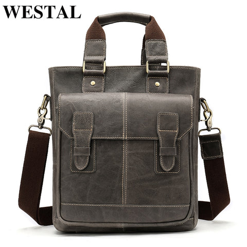 Westal Messenger Bag Men'S Shoulder Bags Genuine Leather Laptop Handbags Briefcase Male Zipper Male
