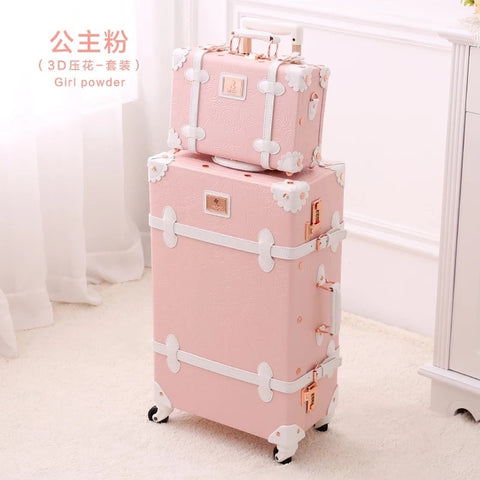"Graspdream Vintage Floral Pu Travel Bag Luggage Sets,13""20""22""24""26"" Inch Women Retro Trolley"