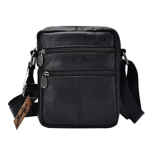 Genuine Cow Leather Men Business Messenger Bag Zipper Design Solid Crossbody Bags Mens Large