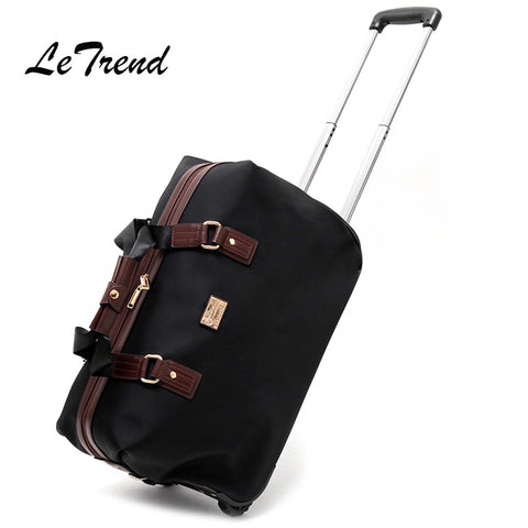 Letrend Men Hand Travel Bag Oxford Trolley Rolling Luggage Castere Women Business Large Capacity