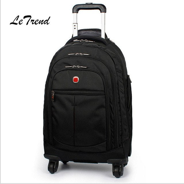 Letrend Large Capacity Travel Duffle Backpack Men Business Oxford Rolling Luggage Trolley