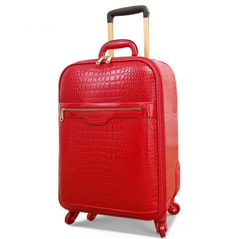 Married The Box Bride Box Full Red Pu Luggage Suitcase Trolley Luggage Female Universal Wheels