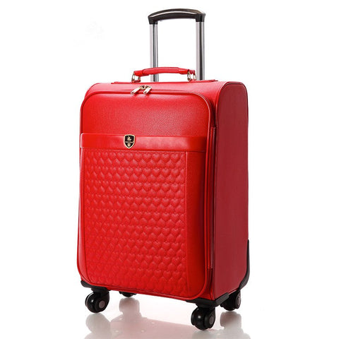 Wholesale!Women 16 18 20 22 24Inches Red Pu Leather Married Luggage Box On Universal Wheels,Girl