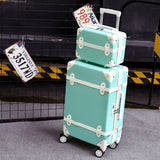 20''22''24''26''Abs Vintage Rolling Luggage Trolley Travel Bag Retro Suitcase With Spinner Wheels