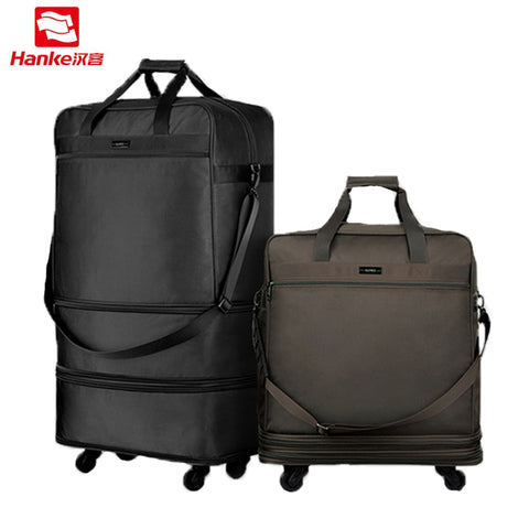Hanke 91L Expandable Suitcases Foldable Men Luggage Lockable Travel Bag Women Spinner Rolling