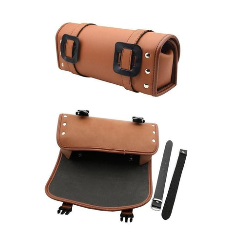 Universal Motorcycle Tool Saddle Bag Leather Luggage Handle Bar Round Barrel Storage Pouch