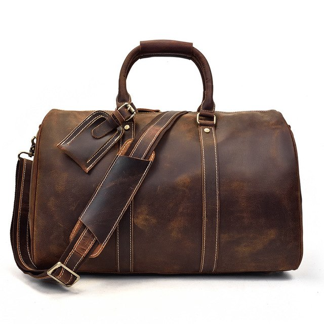 Men Genuine Leather Luggage Travel Bags Overnight Duffel Hangdbag Weekend High-Capacity Tote Boston