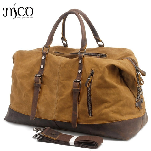 Waterproof Duffel Bag Men Canvas Carry On Weekend Bags Vintage Military Shoulder Handbag Leather