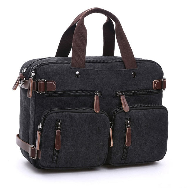 Scione Men Canvas Bag Leather Briefcase Travel Suitcase Messenger Shoulder Tote Back Handbag