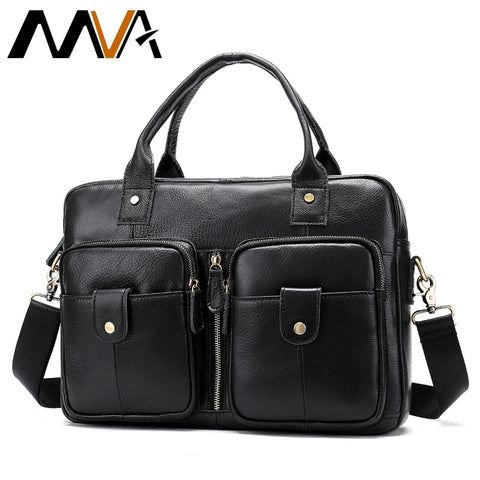 Mva Genuine Leather Bag Business Men Bags Male Leather Laptop Tote Briefcases Men Messenger Bags