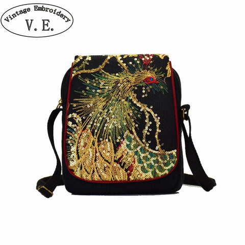 Ethnic Women Messenger Bag Vintage Peacock Embroidery Shoulder Bag Canvas Mobile Phone Small