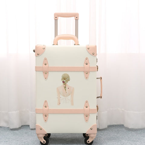 2018 New travel luggage cover suitcase hardside luggage spinner rolling girl printed suitcase geniune leather custom luggage