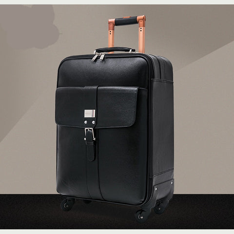 Letrend 100% Genuine Leather Rolling Luggage Spinner Business 16 Inch Carry On Trolley Travel Bag