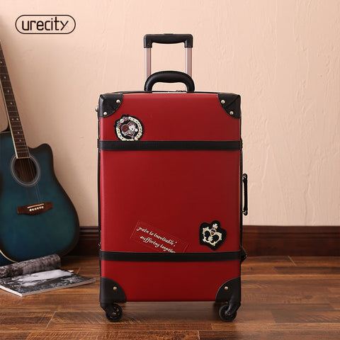 2018 NEW retro travel luggage england spinner suitcase big suitcase red pu pp material high quality free shipping