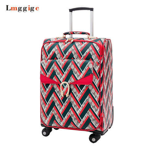 "16"" Inch Rolling Luggage,Pu Leather Suitcase Bag,Women'S High-Quality Cabin Size Travel Box ,New"