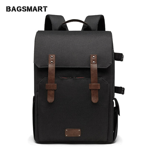 "Bagsmart Multifunctional Camera Backpack For Slr/Dslr Cameras 15.6"" Laptop Camera Bag With"