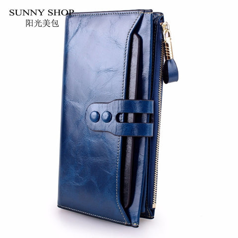 Rfid Blocking Luxury Genuine Leather Women'S Purse With Phone Wallet Thin Slim Long Bifold Zipper