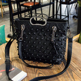Brand 2019 Winter New Women Pu Leather Purse And Handbag Big Tote Bags Rivet Designer Crossbody