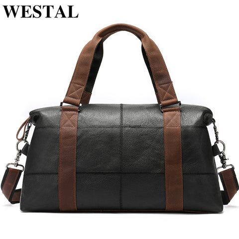 Westal Men Travel Bags Genuine Leather Foldable Carry On Bags Weekend Bag Men Duffel Bag For Hand