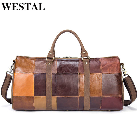 Westal Large Luggage Bag Genuine Leather Men Travel Bags Hand Luggage Waterproof Travel Makeup