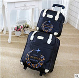 Women Rolling Luggage Bag Set,Waterproof Oxford Travel Bag / Suitcase,Wheel Trolley Case Portable