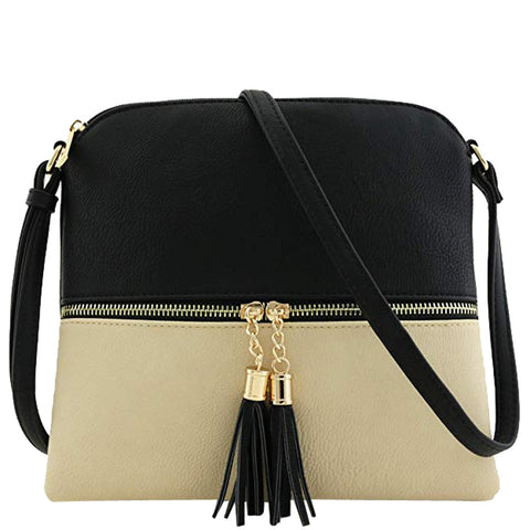 New Panelled Zipper Shoulder Bags Women Leather Tassel Crossbody Bag Hit Color Shoulder Bags