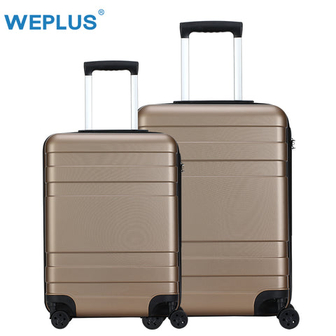 Weplus 2Pcs/Set Travel Suitcase Business Luggage Hardside Rolling Suitcase With Wheels Carry On