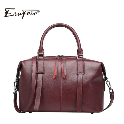 2019 Esufeir Brand Genuine Leather Women Bag Boston Handbag Solid Cowhide Leather Shoulder Bag