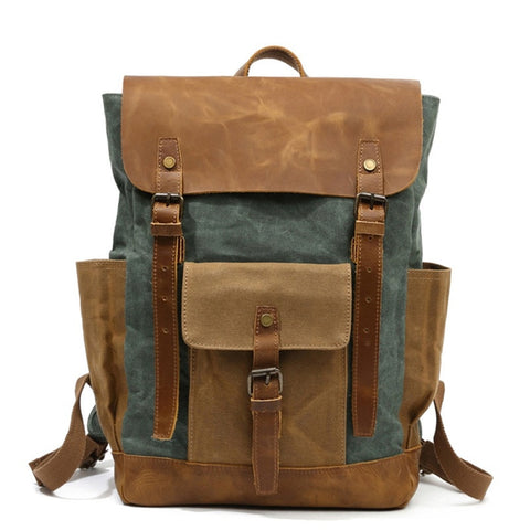 "New Hot Oil Wax Canvas Cow Leather Backpacks Unisex Waterproof Rucksacks 15"" Laptops Daypacks Large"